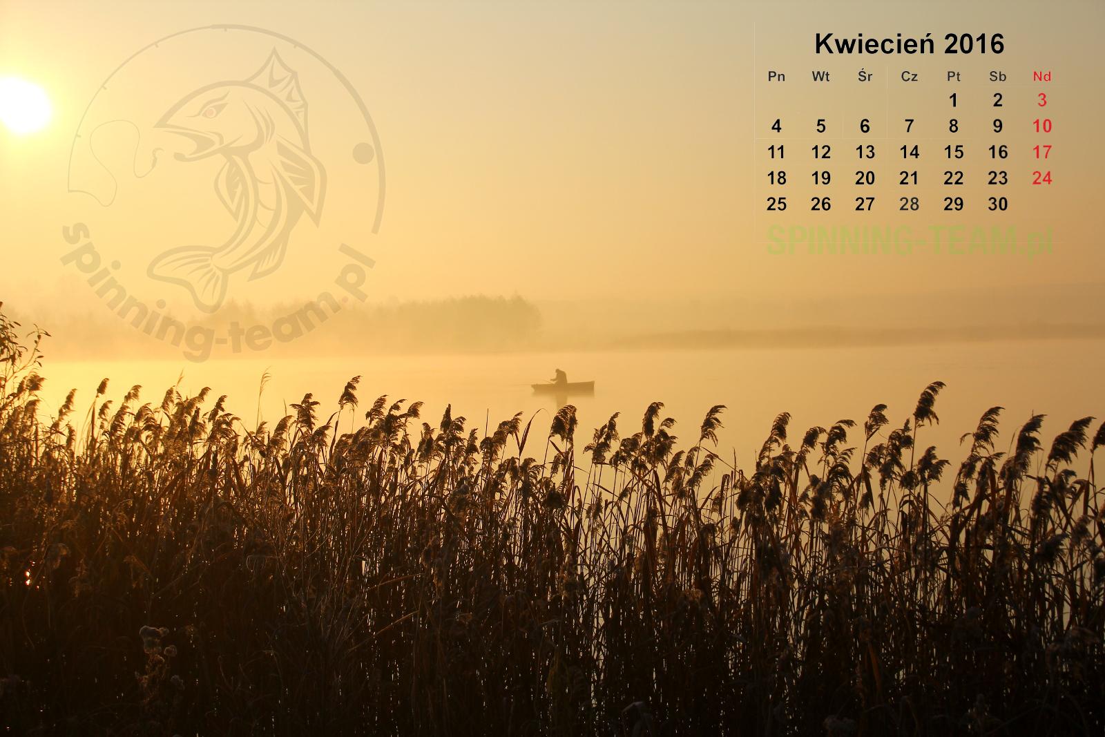 Kalendarz wędkarski Kwiecień 2016
